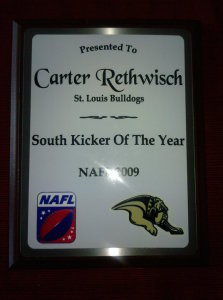 NAFL_Kicker_Of_The_Year_Carter_Rethwisch_2009