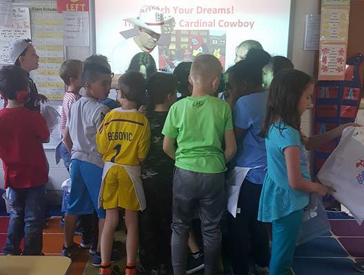 Cardinal Cowboy Visits Mesnier Grade School Career Day