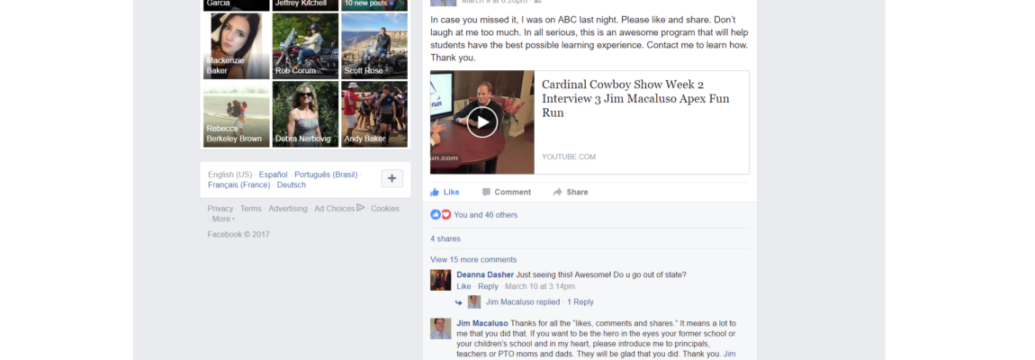 Viral Effect – Social Media… See the effect Jim had simply by sharing his Cardinal Cowboy Show Interview that aired on ABC 30 with his total of 270+ Facebook Friends!